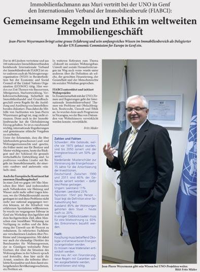 Pressebericht Weyermann Immobilien AG
