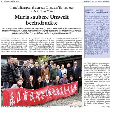 Immobilienspezialisten aus China zu Besuch in Muri
